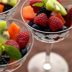 10 Fruit Salad Recipes, from Epicurious. I think I'll start with the honey/lime recipe!