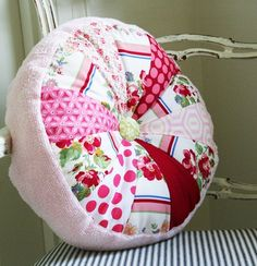 As in a pink fuzzy Sprocket Pillow. This one is trimmed with pink chenille, up-cycled from my Mom's old robe. Diy Craft Projects, Fun Crafts, Sewing Projects, Craft Ideas, Fabric Crafts, Sewing Crafts, Cluck Cluck Sew, Decoupage, Pink Cushions