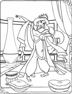 Jasmine Dancing With His New Costume Coloring Pages
