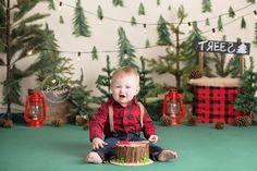 Baby boy in lumberjack themed baby cake smash photos by Brandie Narola Photography Baby Cake Smash, Baby Boy Cakes, Cakes For Boys, Lumberjack Cake, Lumberjack Birthday Party, Rustic Birthday, Boy First Birthday, First Birthday Parties, Birthday Pictures
