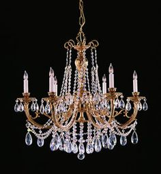 Crystorama 476-CL-MWP Baroque 6 Light Chandelier Olde Brass With MWP Crystal