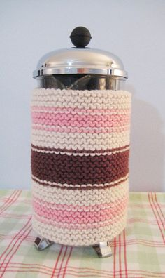 French Press Coffee Cozy Pink and Brown Stripe   All I can say is why does your coffee need a cozy? Just wondering