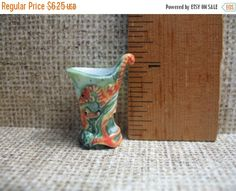 SALE GALLE Art Pottery Vase Pitcher SEAHORSES - French Feve Feves Porcelain Doll House Miniatures W14 by ValueARTifacts on Etsy