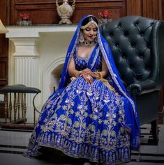 Anita Dongre is amongst the most talked about Bridal Wear Designers.These Bridal Lehengas from Anita Dongre will leave you awestruck. Pakistani Wedding Dresses, Blue Wedding Dresses, Bridal Dresses, Wedding Lehnga, Wedding Attire, Eid Dresses, Fashion Dresses, Anita Dongre, Indian Bridal Outfits