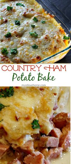 Rich and creamy Country Ham and Potato Bake is pure southern comfort food. Delicious chunks of ham, bathed in a rich cream sauce under a melted layer of cheese is great for brunch or dinner, and this recipe can be made ahead!