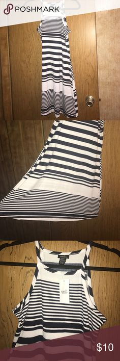 Striped dress Navy and white striped dress. Has a slight flow to it. Never worn Rue 21 Dresses