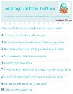 Decálogo del buen Tuitero #infografia #infographic#socialmedia #Bien...