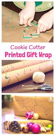 COOKIE CUTTER PRINTED GIFT WRAP A fun Christmas craft for kids to make gifts special. The easiest way to make DIY printed gift wrap.