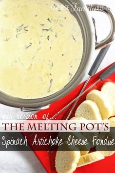 This cheese fondue is amazing! It is just like the the Melting Pot. You have to try our copycat recipe for Spinach Artichoke Cheese Fondue.