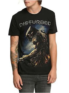 Black T-shirt from Disturbed with large <i>Immortalized</i> inspired design on front.