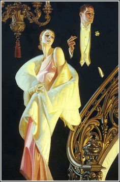 Illustration by Joseph Christian Leyendecker (1874 – 1951) New York based, German born illustrator who created the character known as The Arrow Collar Man and painted more than 400 magazine covers from 1896 to 1950.