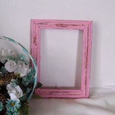 Pink Distressed 5 x 7 wood picture frame by StreetCrossingDesign Pink, Picture On Wood, Picture Frames, Hand Painted, Etsy Items, Distressed Picture Frames, Cottage Chic, Frame, Wood Picture Frames