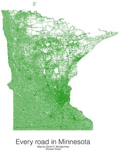 Every road in Minnesota [[MORE]]dhmontgomery: I created this in QGIS from Minnesota Department of Transportation shapefiles. I made this as an experiment as part of a larger project, but was...