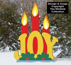 Candlelight JOY Wood Pattern JOY accented with burning candles creates quite an eye-catching holiday display for your yard! Diy Christmas Yard Art, Christmas Yard Decorations, Christmas Wood, Christmas Projects, Holiday Crafts, Christmas Ideas, Lawn Decorations, Christmas Candles, Christmas Stuff