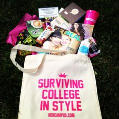 Her Campus Back-to-School Survival Kit Gift - Back-To-School or College College Crafts, College Hacks, College Fun, College Life, Dorm Life, University Survival, College Survival, College Checklist, College Essentials