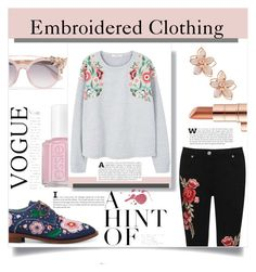 """""""Spring style: Embroidered Clothing"""" by haloangel221 ❤ liked on Polyvore featuring Anouki, WearAll, MANGO, Estée Lauder, Essie, NAKAMOL and Jimmy Choo"""