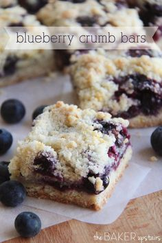 Blueberry crumb bars from The Baker Upstairs. These delicious bars are full of juicy blueberries and super easy to make! www.thebakerupstairs.com