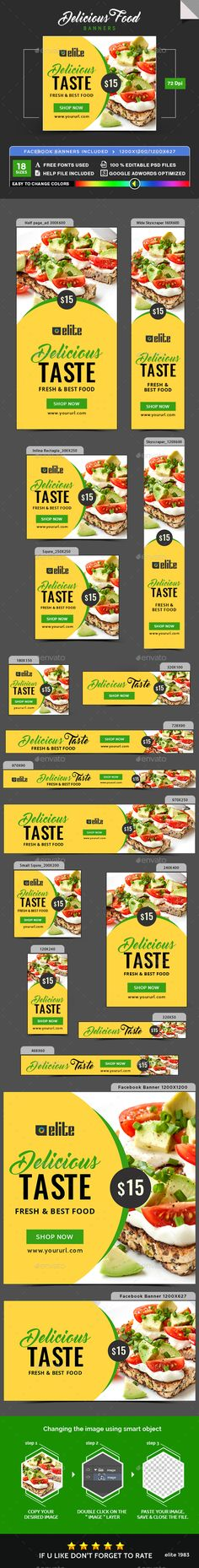 Buy Delicious Food Banners by Hyov on GraphicRiver. Promote your Products and services with this great looking Banner Set. Seafood Lasagna Recipes, Seafood Casserole Recipes, Party Food 21st, Food Banner, Healthy Salmon Recipes, Banner Template, Food Design, Delicious Food, Fun Gif