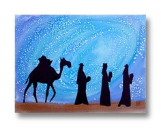 Three Kings and starry night background with blue paint and salt.