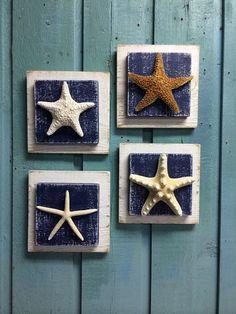 Navy Starfish Sign Wall Art Beach House Decor by CastawaysHall