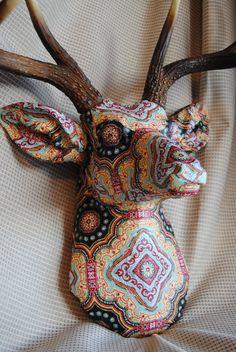 Fabric Deer Head Wall Mount by NearAndDeer on Etsy, $195.00