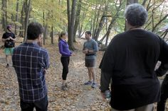 Neil LaBute directing 10K at Teatown Lake Reservation with Clea Alsip and J.J. Kandel.