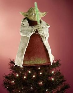 look mommy it's a yoda christmas tree topper!