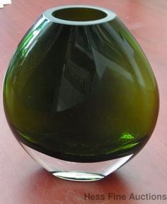 Murano Italy Avocado Olive Green Flat Boulbous Art Glass Decorator Vase 5