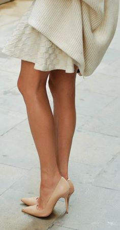 Kazar Nude Leather Pointed Toe Heels by Maffashion