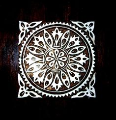 Hand Carved Square Wood Stamp Large Floral by PrintBlockStamps, $36.95
