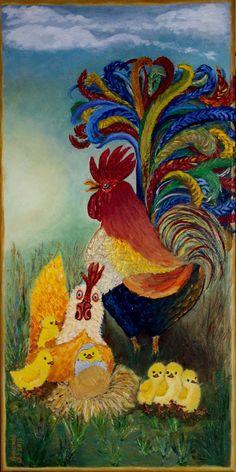 Haan met kip en kuikens, olieverf op doek, 30x60 cm, door Annerieke Smits-Vermeulen 2015. Voor vrienden gemaakt.