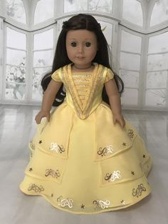 Cinderella Movie Wedding Dress for American Girl and Dolls. – American Girl Doll Clothes by Rocio American Girl Halloween, American Girl Doll Costumes, American Girl Outfits, American Girl Doll Pictures, American Doll Clothes, Girl Doll Clothes, American Girls, Girl Clothing, Girl Costumes