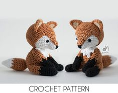 CROCHET PATTERN Lucy the Fox crochet amigurumi stuffed sitting forest animal plush toy / Handmade gift This is a crochet pattern, NOT a finished product! The crochet pattern is written in English (US te Crochet Teddy Bear Pattern, Crochet Fox, Fox Pattern, Crochet Animals, Crochet Hedgehog, Crochet Monkey, Monkey Pattern, Elephant Pattern, Blanket Crochet