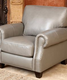 Abbyson Living Lenny Leather Armchair In Gray Find This Pin And More