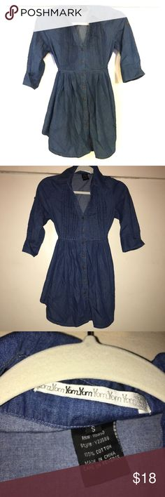 Yam Yam Denim Blouse / Dress Size Small Yam Yam Denim Blouse / Dress Size Small. 100% Cotton. Sleeves can be held rolled up with buttons. Ties in the back to accentuate your waist. Excellent condition! ⭐️ Yam Yam Dresses
