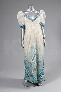 A Ramon Valera sequined and beaded gown or 'Terno', Philippines, Ramones, Oriental Fashion, Oriental Style, 1960s Fashion, Vintage Fashion, Filipiniana Dress, Mod Look, Beaded Gown, Costume Dress