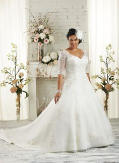 Wedding Dresses - $233.40 - Ball-Gown V-neck Court Train Satin Tulle Wedding Dress With Appliques Lace (0025088685)