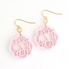 Acrylic Flourish Monogram Pierced Earrings