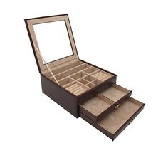 Cordays 2 Drawer Mantel piece Gift Jewelry Box  Storage Case  Premium Quality and Handcrafted with Top Glass Lid in Chocolate Brown Leatherette CDL10007 ** Continue to the product at the image link.