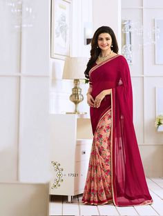 Dark Magenta Exclusive Designer Fancy Saree