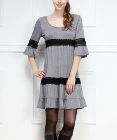 Another great find on #zulily! Gray Crochet Bell-Sleeve Dress by Reborn Collection #zulilyfinds
