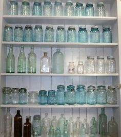 I couldn't believe my luck in coming across this many wonderful vintage bottles and jars that have been in storage for 25 years Over Vintage Mason Jars, Blue Mason Jars, Vintage Bottles, Vintage Perfume, Antique Glass Bottles, Bottles And Jars, Glass Jars, Perfume Bottles, Bottle Display