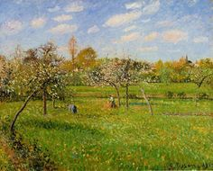 Spring Morning, Cloudy, Eragny - Camille Pissarro