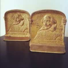 Vintage 22K gold plated Shakespeare bookends for sale at etsy.com/shop/grandmomspennies.  SORRY, THESE HAVE BEEN SOLD BUT PLEASE CHECK OUT MY OTHER ITEMS.