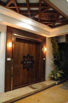 Villa @ Koncept ambience by Samanth gowda, Architect in Hyderabad ,Telangana, India Wooden Front Door Design, Main Entrance Door Design, Home Entrance Decor, Modern Front Door, House Entrance, Entrance Doors, Ceiling Design Living Room, False Ceiling Design, Door Design Interior