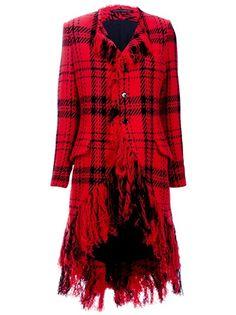 Yohji Yamamoto Tartan Fringe Coat in Red