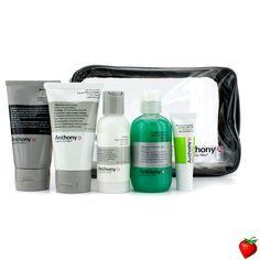 Anthony Logistics For Men The Essential Traveler Kit:  Cleanser + Mositurizer + Lip Blam + Shave Cream + Hair & Body Wash 5pcs+1bag #Anthony #MensSkincare #Travel #Summer #Beauty #HotPick #FREEShipping #StrawberryNET