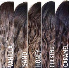Hair color highlights; Vanilla, sand, honey, Chestnut, caramel
