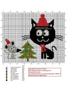 noël - chat et souris - christmas cat - Point de croix - cross stitch - Blog : http://broderiemimie44.canalblog.com/