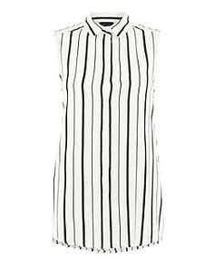 Black Stripe Sleeveless Shirt  | New Look